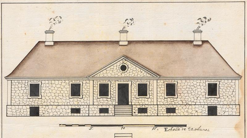 Teikning af fyrirhugðu nýju húsi á Bessastöðum sem þar var reist árunum 1721-1722. Sennilega gerð af Johan Conrad Ernst arkitekt.
