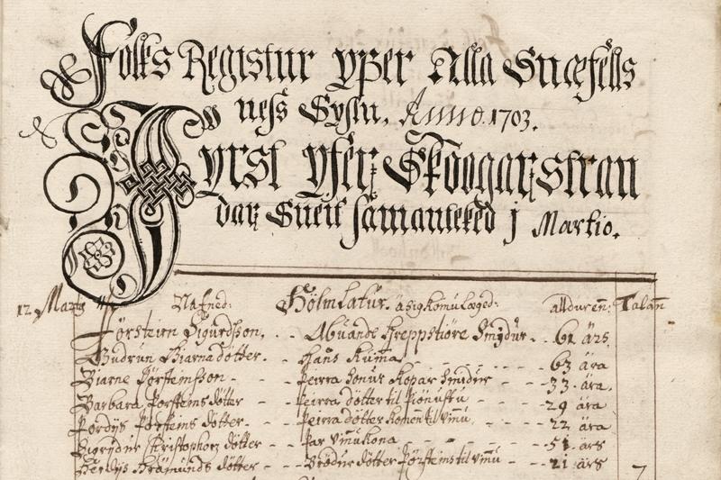 Manntalið 1703, upphaf manntals Skógarstrandarhrepps í Snæfellsnessýslu