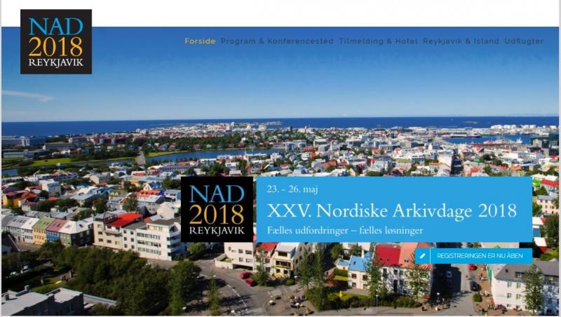 XXV. Nordiske Arkivdage 2018.