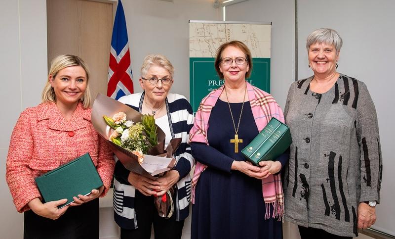 Lilja Alfreðsdóttir mennta- og menningarmálaráðherra, Björk Ingimundardóttir sagnfræðingur, Agnes M. Sigurðardóttir biskup Íslands og Hrefna Róbertsdóttir þjóðskjalavörður.