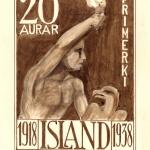 Tillaga að minningarfrímerki vegna fullveldisafmælis árið 1938.